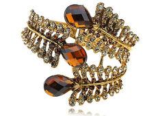 Dark Brown Topaz Gem Fossil Leaf Golden Wrap Crystal Bracelet Cuff Bangle Band