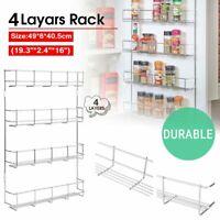 Kitchen Spice Rack Organizer 4 Layers Wall Mount Storage Shelf Pantry Holder BT