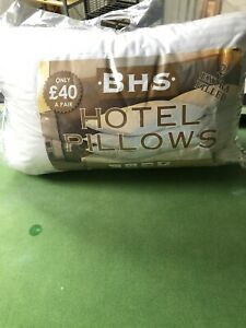 BRAND NEW - BHS HOTEL HIGH STANDARD 2 PILLOWS WASHABLE NON ALLERGENIC RRP £40