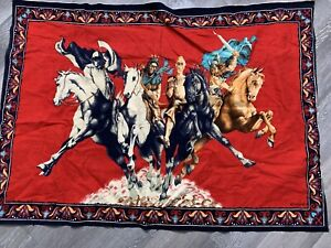 """Vintage FOUR HORSEMEN OF THE APOCALYPSE Tapestry 36"""" x 51"""" Cotton Wall Hanging"""