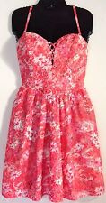 Guess Women's Orange and Pink Floral Lace Summer Party Sheath Dress Size 6 NWT