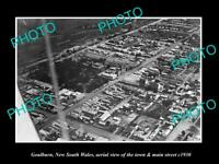 OLD 8x6 HISTORIC PHOTO OF GOULBURN NSW AERIAL VIEW OF MAIN STREET c1930