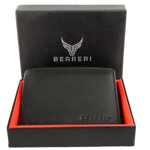 BERRERI RFID Safe 100% Genuine Leather Cardholder Wallet for Men Boxed UK Stock