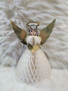 Vtg FOLDING HONEYCOMB PAPER ANGEL Choir Girl White & Gold Foil Wings CHRISTMAS