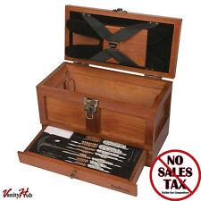 Gun Cleaning Tool Kit Rifle Shotgun Pistol Wood Gunsmith Chest Handmade Box Set