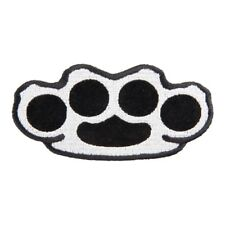 Brass Knuckles Grey & Black Motorcycle Patch, Biker Patches