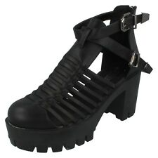 SALE Ladies Spot On Heeled Black Cut Out Boots with Buckle - F9750S