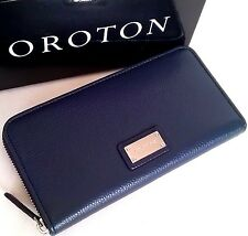RRP$295 New OROTON Wallet Kiera MultiPocket Zip Around Large Clutch Navy Leather