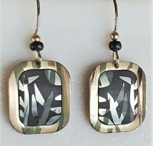 Holly Yashi Silver Earrings Etched Niobium Pierced Dangle Bamboo Design SIGNED
