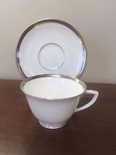 Vintage Royal Worcester MALVERN Platinum Encrusted ~ Footed Cup & Saucer Set(s)