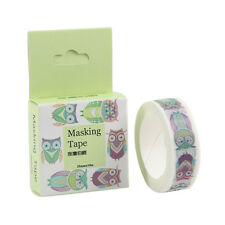 15mm x 10M Animal Print Washi Masking tape Kitty Owl Squirrel Fish Cat EF