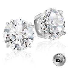 925 Sterling Silver 3 Carat TW Round Cut AAA+ Cubic Zirconia Stud Earrings CZ