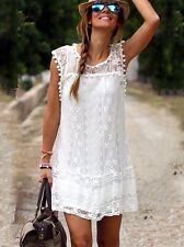 Mini robe d'été dentelle blanc taille XS / Summer mini Dress in white lace XS