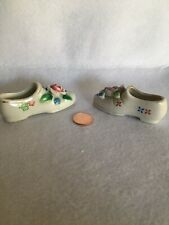 Lot Of 2 - Tiny Shoes Vintage Ceramic Miniature Flat Shoes - Made Occupied Japan