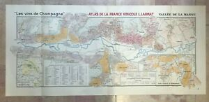 WINE MAP CHAMPAGNE (MARNE) FRANCE 1944 LARMAT VERY LARGE ANTIQUE MAP
