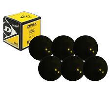 6 x Dunlop Pro Squash Balls Double Yellow Dot - WSF & WSA & PSA Official Ball