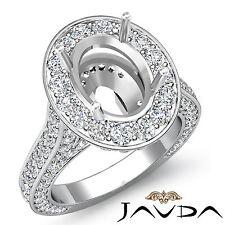 Oval Diamond Engagement Vintage Ring 14k W Gold Halo Pave Set Semi Mount 2.1Ct