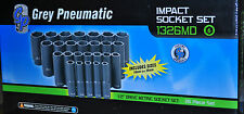 1/2 Dr 26 Pc Deep Impact Socket Set 10MM to 36MM Metric 6 Point Grey GRE1326MD