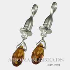 Authenitc Chamilia Sterling Silver Drop Briolette Orange Earring Bead 1320-0004