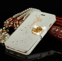 Luxury Slim Leather Magnetic Flip Bling Wallet Cover Case For iPhone & Samsung