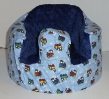 New Bumbo Floor Seat Flannel Cover • Blue w/Train Engines • Safety Strap Ready