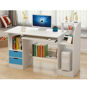 White Home Office Desk Computer Table Workstation With 2 Shelve Storage For Kid