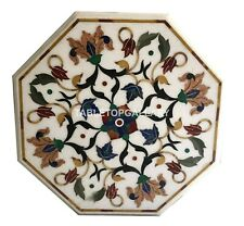 1'x1' White Marble Side Coffee Table Top Multi Floral Marquetry Inlay Decor W066