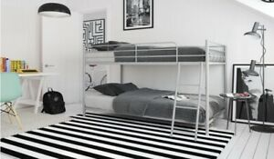 Small Space Twin over Twin Bunk Bed, Silver Metal.