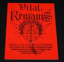 "VITAL REMAINS ""DAWN ON OF THE APOCALYPSE"" 2000 UNUSED RARE OSMOSE PROD PROMOSTIC"