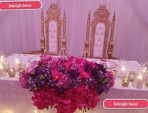 KING & QUEEN LARGE WEDDING THRONE CHAIRS GOLD FOR HIRE ONLY