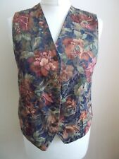 Women's  Blue Pink Purple Brown Pattern V Neck Waistcoat  Vest by M&S Size 10