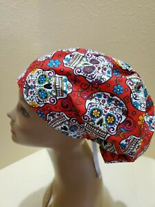 Sugar Skulls (red) Women's  Euro/Chef Surgical Scrub Hat/Cap Handmade