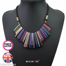 NEW MULTI COLOUR RESIN TASSEL NECKLACE WOMENS BOHEMIAN BOHO BIB PENDANT UK