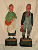 "American Folk Art Hand Carved Wooden 2 Old People Farm Figurines 12.5"" Primitive"
