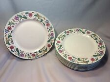 "Set of 8 Castlegarden Collection by Citation Salad Plates 7 5/8"" Pink Blue"