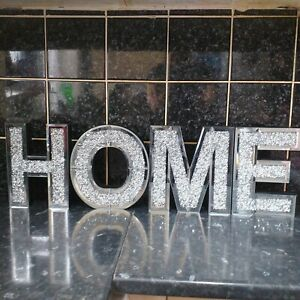 Silver Crushed Crystal Home Sign Diamante Mirror Wall Letters Home Sign New