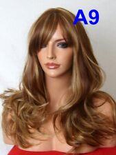 Wavy Brown highlight beige Long Women Fashion real natural full head hair Wig A9