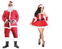 Luxury Men/Wome Velour Santa Suit Father Christmas Fancy Dress Outfit