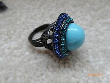 LANVIN Paris Turquoise Blue Rhinestone Detail Pearl Ring *New In Box* - Size 51