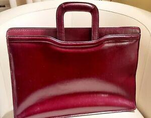 Geoffrey Beene Leather Slim Briefcase Attache, Burgundy