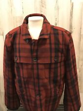 Mens Tommy Hilfiger Plaid Red And Black Peacoat NWT