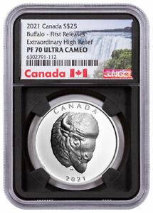 2021 Canada Buffalo Extraordinary High Relief 1 oz Silver $25 NGC PF70 UC FR BC