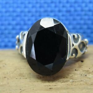 Silpada Large Oval Faceted Ornate Sides 925 Sterling Silver Ring Size 6 8.3g