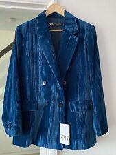 ZARA FW2020 Wrinkled Effect Velvet Blazer Jacket Peacock Blue SIZE S Bloggers