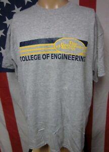 UNIVERSITY OF AKRON tee XL College Engineering T shirt Ohio stripes Zips 1980s