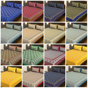 Indian Screen Printed Cotton Bedding Bedspread With Pillowcase Coverlet Blanket
