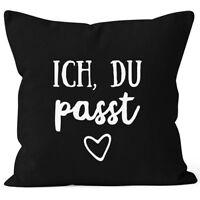 Kissen-Bezug Valentinstag Liebe Ich du passt Kissen-Hülle Deko-Kissen Baumwolle