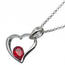 1.36 Ct Pear Cut Style Shape Red Garnet / Ruby 18K White Gold Plated Pendant