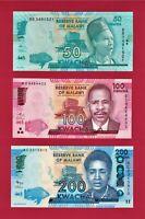 MALAWI UNC NOTES: 50 KW 2016 (P-64c), 100 KW 2017 (P-65c) & 200 KW 2012 (P-60a)