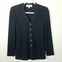ST JOHN Women's Size 2 Cardigan Sweater Black Gray Long Sleeve Gold Tone Buttons